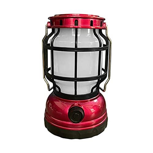 Matedepreso Luz solar, Vintage Solar colgante LED noche luz USB recargable linterna LED con mango colgante para el hogar camping al aire libre (rojo)
