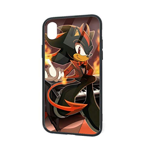 Tempered Glass Back iPhone XR Cases, Soft TPU Accurate Cutouts Custom Bumper, SandProof Anti-Finger Full Protective Case Cover for iPhone XR, Shadow The Hedgehog Halloween Fire