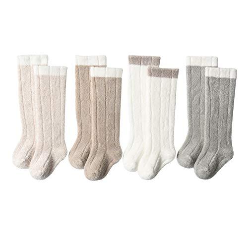 LUO'S Socken rutschfeste Kleinkind-Socken 4-Pack, Innenbodensocken, langweilig ohne Streifen, Jungen & Mädchen im Alter von 0-3 Jahren (Size : 1-3 Years Old)