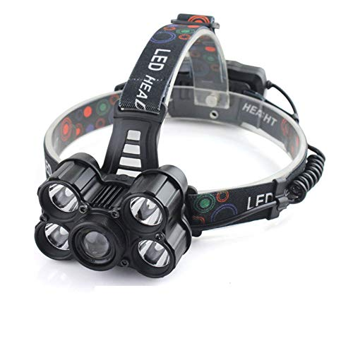 SPTIDY Linterna De Cabeza con Zoom De 10000 Lúmenes, 4 Modos, 5 LED, Cabeza...