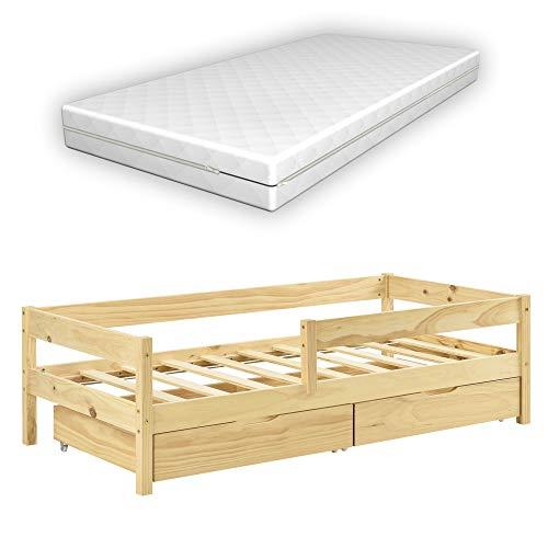 [en.casa] Kinderbett mit Matratze, Rausfallschutz und Schubladen 70x140 cm Jugendbett mit Schutzgitter mit Kaltschaummatratze und Bettkasten Kiefernholz Bett Natur Holz