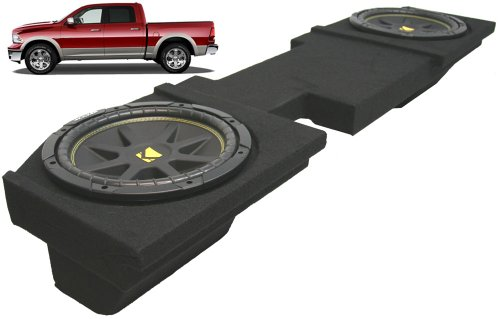Compatible with Dodge Ram 2002-2013 Quad or Crew Cab Truck Dual 10' Kicker C10 Subwoofer Sub Box Enclosure 600 Watts Peak