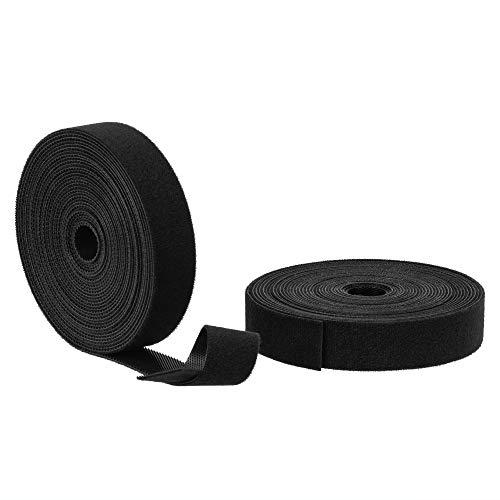 BRAVEHISNE Klett Kabelbinder wiederverschließbar Klettbänder, 2 Rollen klettverschluss Kabelbinder Rolle für Kabel Frei Zuschneidbar zum Nähen Basteln Kabelmanagement (5mx20mm, Schwarz)