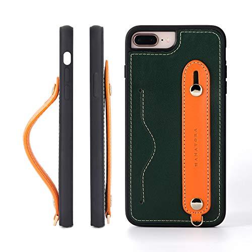 iPhone 8Plus/7Plus グリップケース レザー 本革 ストラップ付属 イタリア製牛革 ヌメ革 片手操作 カード収納 スタンド機能 メンズ レディース グリーン/オレンジ
