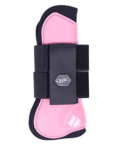 QHP Hartschalen-Gamaschen vorne innen Neopren Klettverschluss (Pony, Flamingo pink)