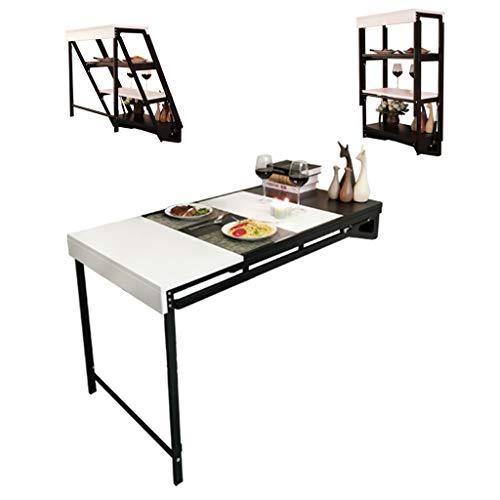 QULONG Parete Tavolo, 3 Pieghevole Multifunzione Computer Desk, Tavolo da Pranzo Convertibile Desk Scrivania Home Office Legno Convertibile scrivania, Grande deposito,A