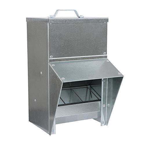 Rural365 Galvanized Chicken Feeder - Rat Proof Poultry Feeder with Lid Weatherproof Outdoor Coop Food Dispenser, 25lbs