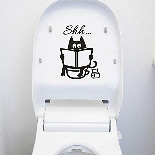 Toilette Autocollant Mural Sticker muraux Décoration Stickers mural pour salle de bain wc décor Noir Chat Murale Sticker Créatif Imperméable Amovible Décorations Stickers PVC porte autocollant WINJIN