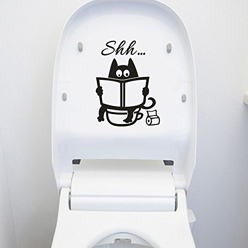 Moent Nette Katze Shh Toilette abnehmbare Kunst Vinyl Wandbild Home Room Decor Wandaufkleber, Nette Katze Shh Wandaufkleber