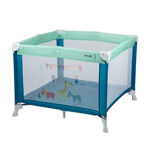 Safety 1st - Circus Parque de juegos, Gran colchon (1mx1m), plegable y compacto, se puede utilisarse come Cuna de viaje, color Happy day 2, Azul