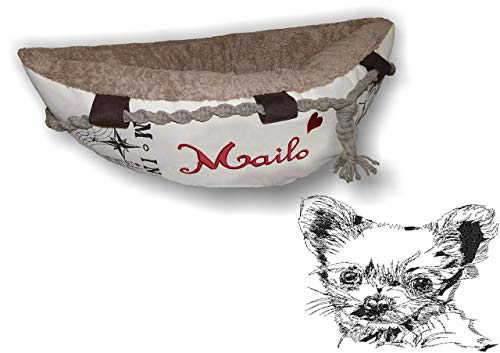 LunaChild Hundebett Hund Boot Böötchen Chihuahua 1 Hundeboot Sofa Lounge Hundelounge mit Name Wunschname Snuggle Bag Größe XS S M L viele Farben ehältlich Hundekörbchen