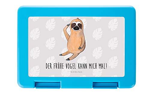 Mr. & Mrs. Panda BPA-frei, Brotzeitbox, Brotdose Faultier Vogel Zeigen mit Spruch - Farbe Grau Pastell