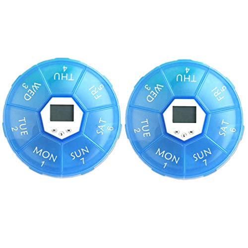 UPKOCH 2pcs 7 Days Pill Boxes Medicine Dispenser with Reminder Alarm Digital Pill Container Timer Reminder Compartment Weekly Pill Vitamin Fish Oil Storage Organizer