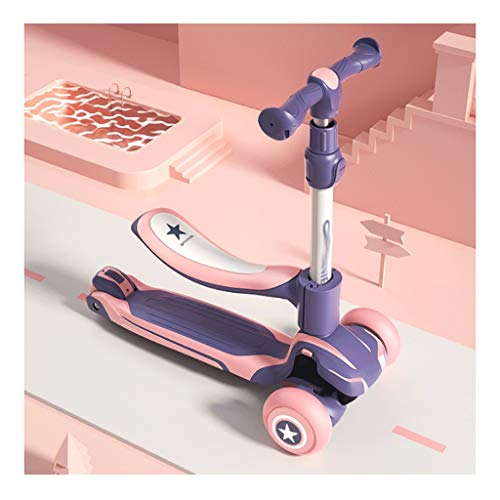 Scooters para Niños Múltiples modos de conmutación scooters plegable patear scooter para niñas niños, 3 altura ajustable, llantas de iluminación para niños de 3 años Antideslizante Scooter Patinete Ni