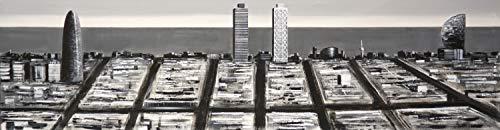 Cuadro Pintado Eixample Litoral de Barcelona Moderno, en Blanco y Negro, sobre Lienzo, Listo para Colgar. Torre Agbar, Torre Mapfre, Hotel Arts, Hotel Vela. 100% Original