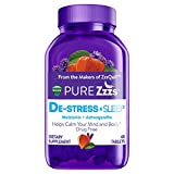 ZzzQuil Pure Zzzs De-Stress & Sleep Melatonin Sleep Aid Tablets, 48 ct, with Ashwagandha, Chamomile, Lavender, & Valerian Root, 1 mg per tablet