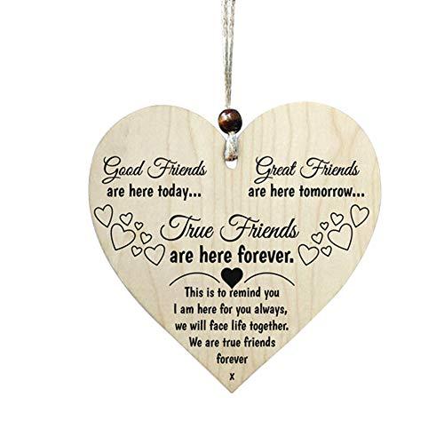 Placa de madera para colgar en forma de corazón, placa para colgar en forma de corazón Placa para colgar en forma de corazón Regalo de la amistad Placa de los mejores amigos para Colgar, Amigos