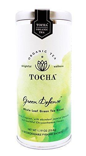 Green Defense - Organic Green Tea Bags, Loose Leaf, 15 Biodegradable Pyramid Bags, Premium Artisan Quality, Powerful Anti-oxidant, No Flavoring, Gluten Free, Non-GMO, Blend of Jasmine Tea and Chrysanthemum