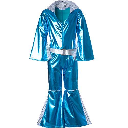 dressforfun 900495 - Disfraz de Chica Disco Starlet Brillante, Pieza Neón Azul Brillante (128| No. 302365)