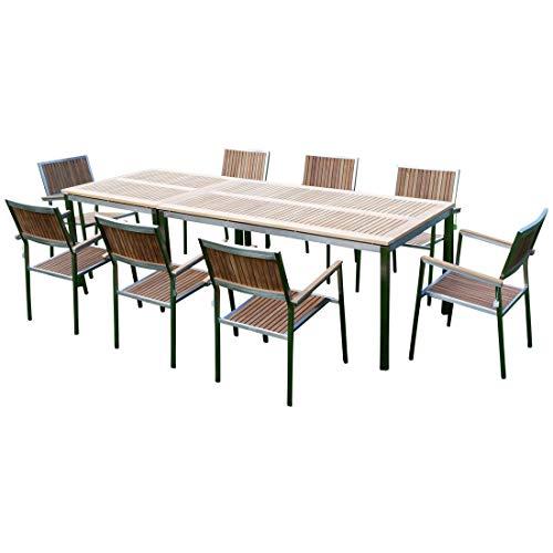 AS-S Gartengarnitur Edelstahl Teak Set: Tisch 160x90 cm und Tisch 90x90cm und 8 Teak Sessel A-Grade Teak Holz Serie Kuba Gastroqualität