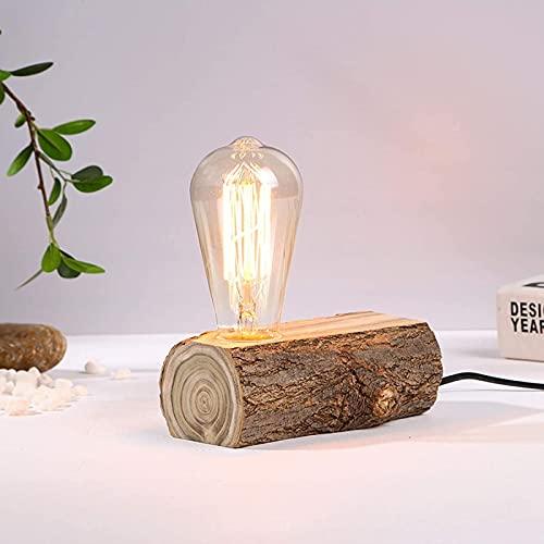 MWKL Lámpara de Mesa de Madera Vintage con Interruptor, luz de Escritorio Industrial Antigua para cafetería, Bar, Estudio, luz Nocturna, Sala de Estar, Dormitorio, iluminación de Noche, decoración