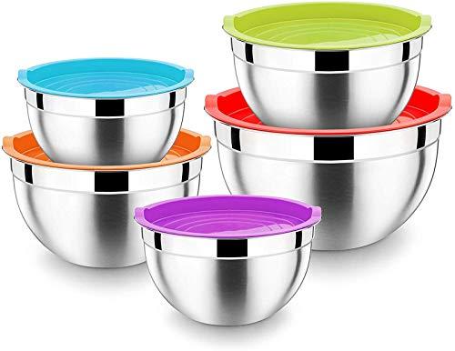 HaWare Rührschüssel 5er Set, 100% Edelstahl Salatschüssel Schüssel Set mit Luftdichtem Deckel – 5L / 4 L / 3 L / 2.5 L / 1.5 L, ideal zum Kochen/Backen/Aufbewahrung, Stapelbar & Spülmaschinenfest
