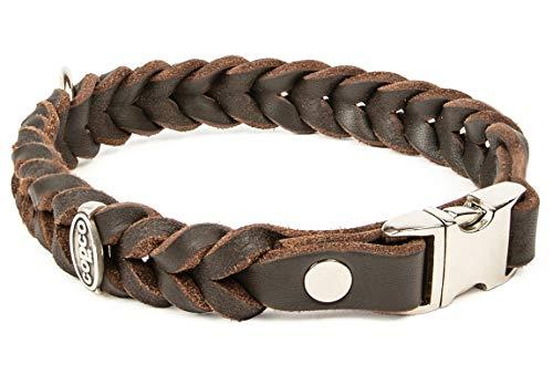 CopcoPet - Fettleder Halsband geflochten mit einem klick-Verschluß aus Metall, in Braun 40 cm x 20 mm