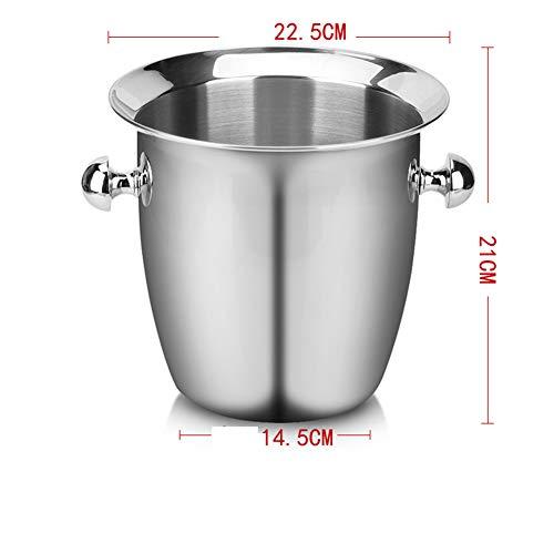 Doppelwandiger Eiskübel aus Edelstahl mit Zangen | Eiswürfel-Eimer FENGMING (Farbe : Silber, größe : 5.5L;)