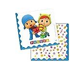 0923, pack 20 servilletas de papel Pocoyo y Nina; ideal para fiestas y cumpleaños