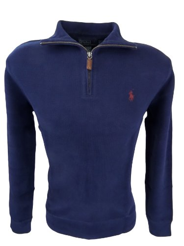 Polo Ralph Lauren Mens Half Zip French Rib Cotton Sweater (X-Large, Navy)