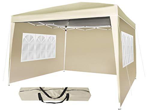 MALATEC Gartenpavillon Partyzelt Festzelt Wasserdicht Faltpavillon 3mx3m UV-Schutz30+ Camping Zelt Faltbare Beige Grün Grau Blau 7902, Farbe:Beige
