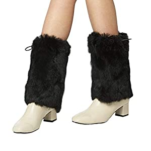 ☀[Super high quality real furl]-- Our leg warmer is made of real rabbit fur.Our real fur is softer than the faux fur on the market, and the material comes off is less.The warm effect of real fur leg warmer is absolutely better than that of faux fur.W...