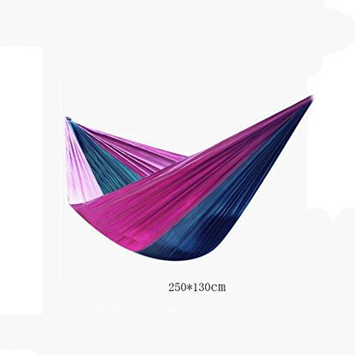 Hamac Outdoor hamac camping camping balançoire hamac hammock alpinisme hamac vert foncé parachute tissu en nylon hamac hamac portatif (sac de rangement * 1, cordon enfant * 2, crochet * 2), (250 * 130cm)