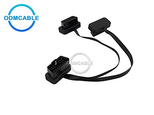 OBDII OBD 2 OBD2 16pin ELM327 Male To dual Female Y Splitter Elbow Extension Flat+16 pin Thin Noodle Cable Black Male to Female Flat Extension Cable for all OBD Vehicles 60CM