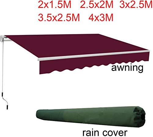 Ausziehbare Standard-Vorzelt, Garten, Sonnenschutz, Pavillon, grün-weiß mit grünem Regenschutz, Größe: 3M, Farbe: Grau (Farbe: Weinrot, Größe: 2M)