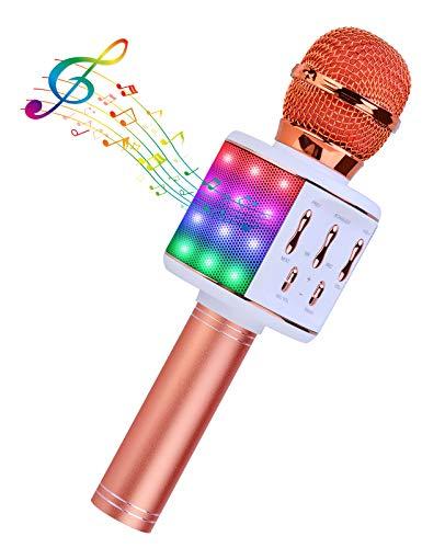 BlueFire Microfono Karaoke, Wireless Bluetooth Portatile Microfono Karaoke con Altoparlante, Bambini Microfono per Festa di Compleanno Riunione di Famiglia, per Android IOS, PC e Smartphone, Oro Rosa