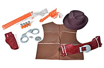 Sunny Days Entertainment Maxx Action Wild West Deluxe Role Play Set with Cowboy Hat Toy Pistol Toy Shotgun & Shells Handcuff with Keys Holster Belt & Western Vest