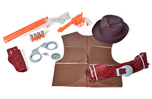 Sunny Days Entertainment Maxx Action Wild West Deluxe Role Play Set with Cowboy Hat, Toy Pistol, Toy Shotgun & Shells, Handcuff with Keys, Holster Belt & Western Vest