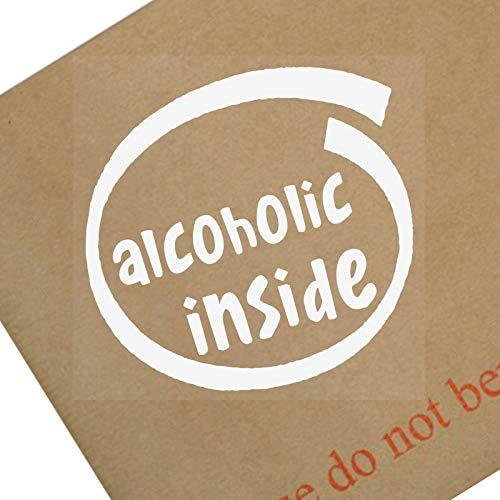 Platina Plaats 1 x Alcoholische Binnen-Wit op Clear-87x87mm-Raam, Auto, Van,Sticker,Teken, Voertuig,Lijm,Drink,Feest,Jeugd,Verslaving,Verslagen,Dronken,Whisky,Wodka,Geesten,Schoten