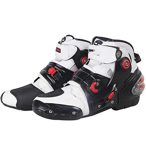ZOULME Botas de Botella Motocicleta Ciclismo Ciclismo Zapatos de Tobillo Cortos Crash Protection Quad Trail Kart Race Sports Motorbike Boots-Blanco_46