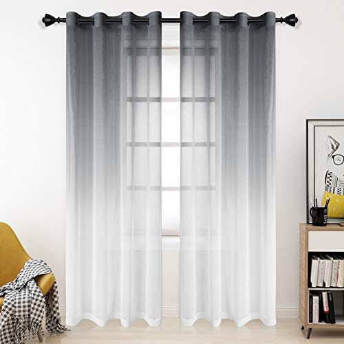 Bermino Faux Linen Ombre Sheer Curtains, 54 x 84 inch, Grey - Grommet Gradient Voile Semi Sheer Curtains for Bedroom and Living Room, Set of 2 Curtain Panels