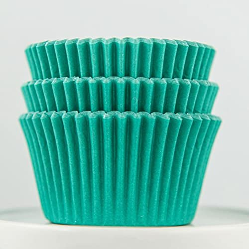Muffin Paper Baking Cups - Premium Bright Cupcake Muffin Liners for Baking - Solid Teal Colored Greaseproof Cupcake Liners Standard Size