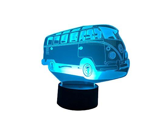 LED Nachtlicht (Bus) mit 7 Farben. Betrieb wahlweise mit Batterie oder USB Anschluss möglich. 3D Illusion.