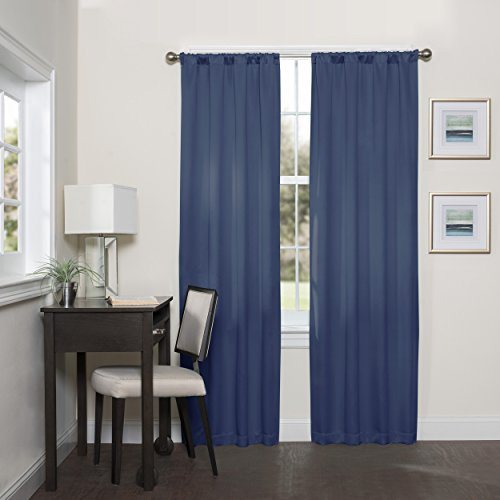 ECLIPSE Room Darkening Curtains for Bedroom - Darrell 37' x 84' Thermal Insulated Single Panel Rod Pocket Light Blocking Curtains for Living Room, Indigo