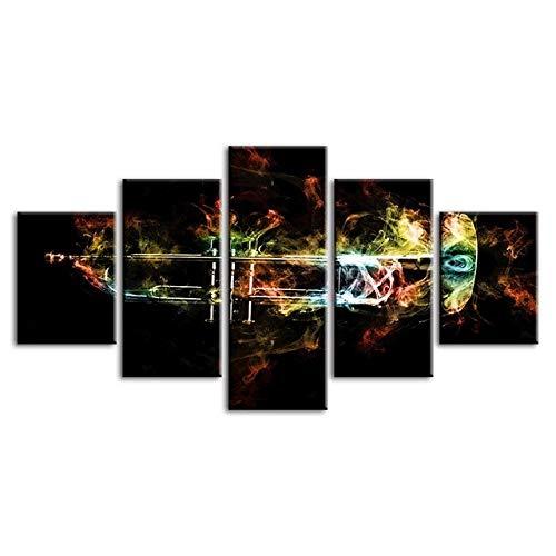 YB muurkunstwerk decoratie Hd druk muziekinstrument trompet poster modulaire afbeelding canvas schilderij voor woonkamer Size2 No Frame 5p