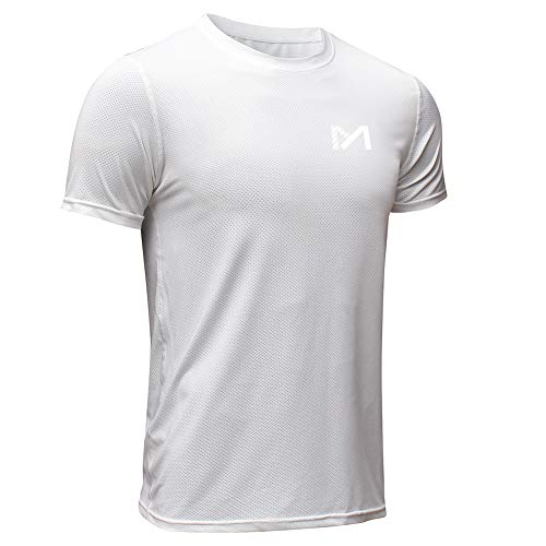 MEETYOO Sportshirt Herren, Laufshirt Kurzarm T Shirts Männer Fitnessshirt Atmungsaktiv Funktionsshirt für Running Jogging Fitness Gym (Weiß, L)