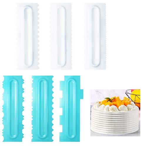DOERDO - Juego de 6 raspadores para tartas y glaseado más suave, de plástico con dientes de sierra, para decorar mantequilla, mousse, crema y pasteles, herramienta de bricolaje