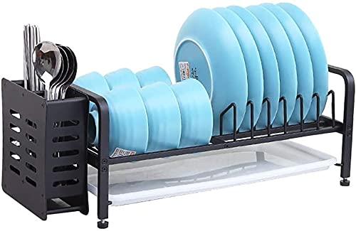 MUZIDP Plato Secado Estante Plato escurridor Espacio Plato de Aluminio Estante de Cocina Rack Doble tazón Plato Drenaje Rack Cocina Plato Caja de Drenaje