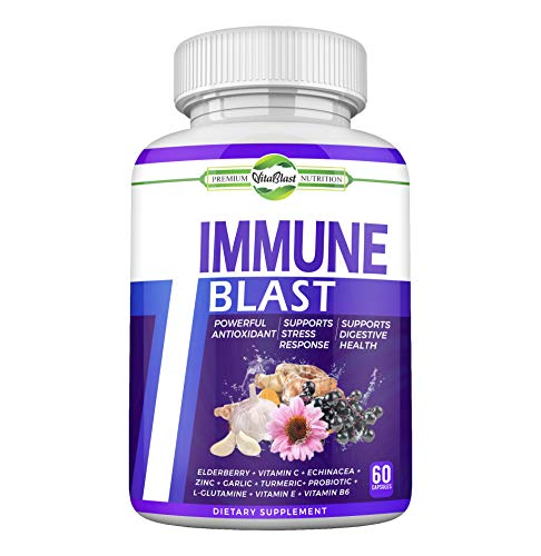 Immune Blast – Natural Immunity Boost Supplement w/ Elderberry, Vitamin C, Echinacea & Zinc for Immune System Defense, Antioxidant Support, Stress Response, Focus, Memory & Digestive Health -(60 Caps)