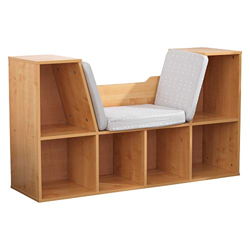 KidKraft Wooden Bookcase with Reading Nook, Storage and Gray Cushion